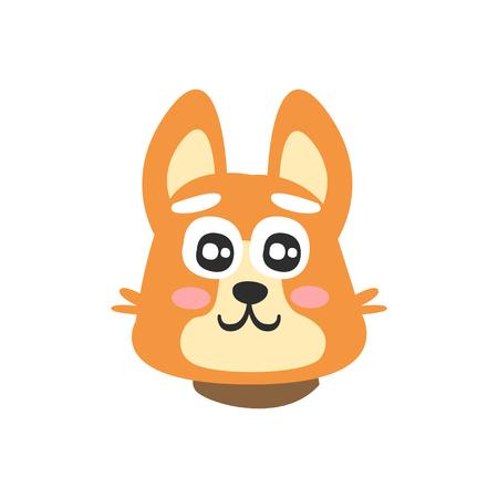 Zoet rood hondgezicht, grappig beeldverhaal dierlijk karakter, aanbiddelijke binnenlandse huisdieren vectorillustratie Stock Illustratie