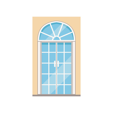 Double glass paned arched front doors, closed elegant white door vector illustration Illustration