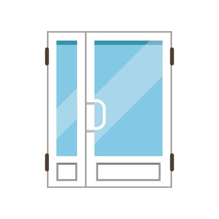 Double glass paned plasstic front doors, closed elegant white door vector illustration Иллюстрация