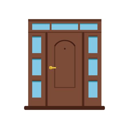 家への古典的な茶色の木製の入り口のドア、閉じられたエレガントなドアのベクトルイラスト  イラスト・ベクター素材