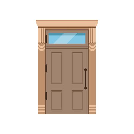 Classic wooden front door to house, closed elegant door vector illustration Illustration