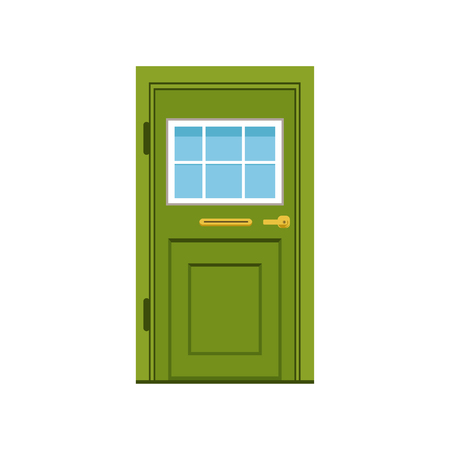Green front door to house, closed elegant door vector illustration