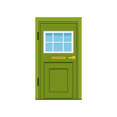 Puerta de entrada verde a la casa, ilustración de vector de puerta elegante cerrado
