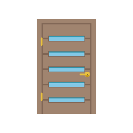 Modern wooden door with glass, closed elegant door vector illustration