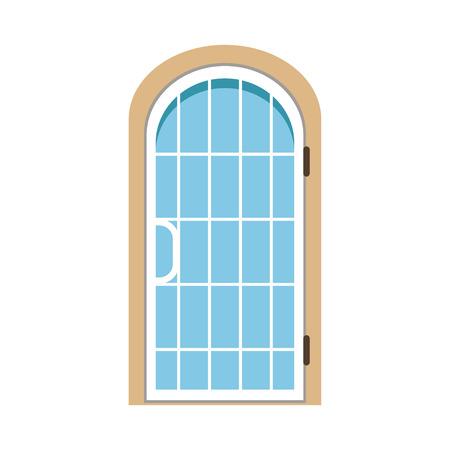 ガラスの窓があるアーチ型の正面玄関、閉じられた優雅なドアのベクトルイラスト
