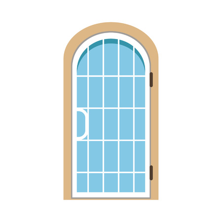 arched: Glass paned arched front door, closed elegant door vector illustration Illustration