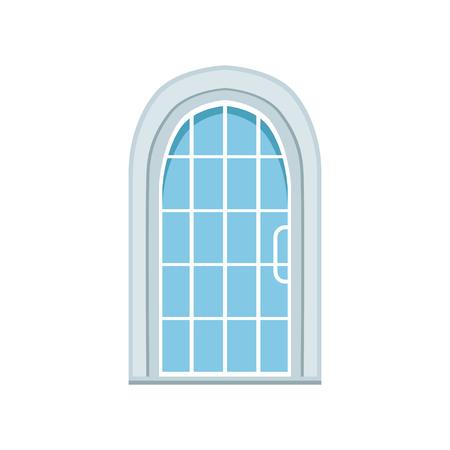 ガラスの窓があるアーチ型の正面玄関、閉じられた優雅な白いドアのベクトルイラスト