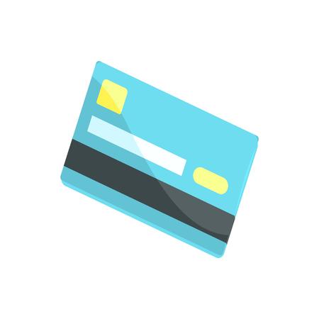 Blue credit card cartoon vector illustration