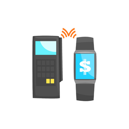 POS terminal confirming the payment using smart watch, online banking, NFC payment method  cartoon vector illustration