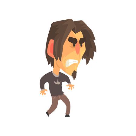 攻撃的な顔の表情で若い怒った男を強調し、マン感情的な顔漫画のキャラクターベクトルイラスト  イラスト・ベクター素材