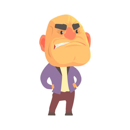 Bald angry man with aggressive facial expressions, despair aggressive person cartoon character vector illustration
