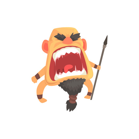 攻撃の槍、感情的な顔漫画文字ベクトル図を持つ猛烈な男戦士の叫び