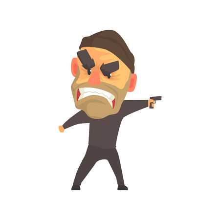 Furious male criminal with gun in his hand cartoon vector illustration