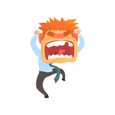 Furious young redhead man screaming, despair aggressive person cartoon character vector illustration