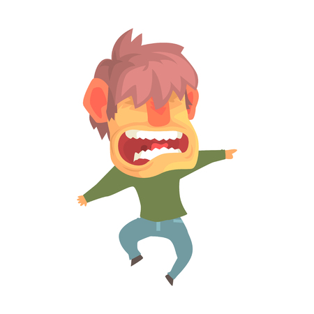 Young angry screaming man, despair aggressive person cartoon character vector illustration
