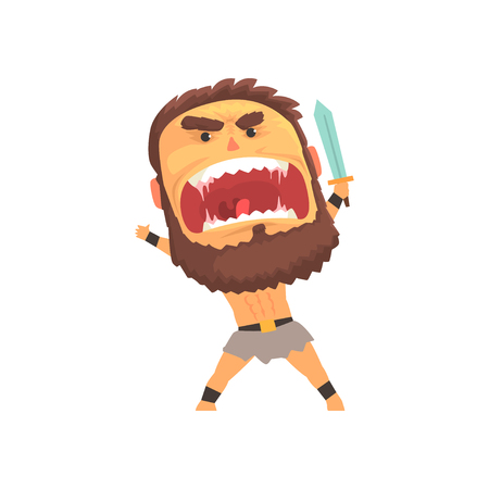 Screaming warrior attacking with sword, furious man with emotional face cartoon character vector illustration