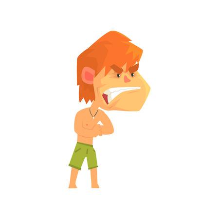 積極的な人漫画キャラ ベクトル イラスト ショート パンツを着て若い赤毛の猛烈な男