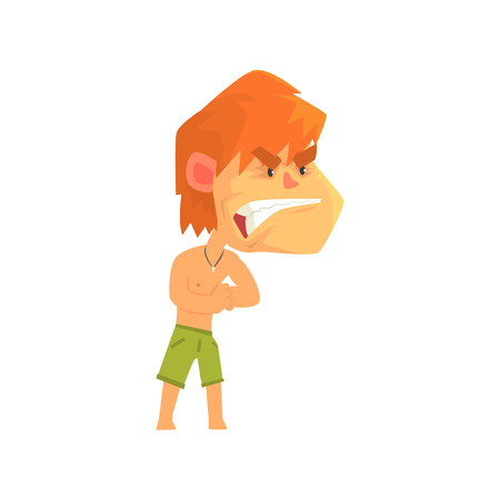Furious young redhead man wearing shorts, aggressive person cartoon character vector illustration