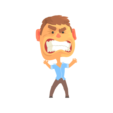 Furious man with aggressive facial expressions cartoon character vector illustration Иллюстрация