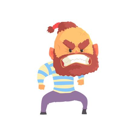 Angry aggressive bearded man cartoon vector illustration