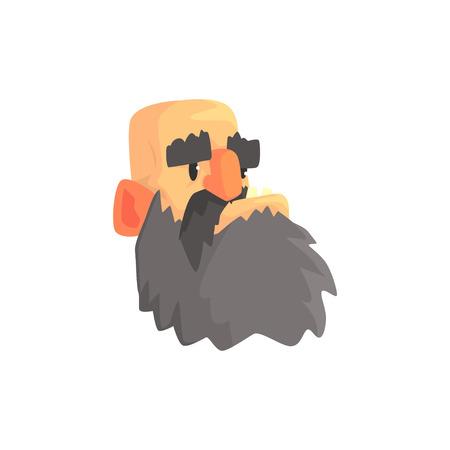 Tête d'homme chauve, illustration vectorielle de caractère brutal mâle barbu dessin animé Banque d'images - 86639358