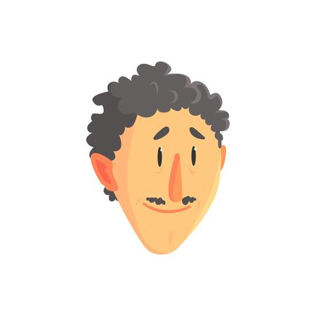 Tête de jeune homme frisé, visage masculin positif avec illustration vectorielle de moustache cartoon caractère Banque d'images - 86639359