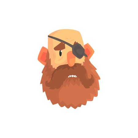 Bearded man face with eye patch cartoon character vector illustration