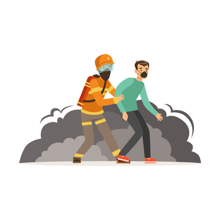 Fireman character in uniform and protective helmet rescuing a man, firefighter at work vector illustration
