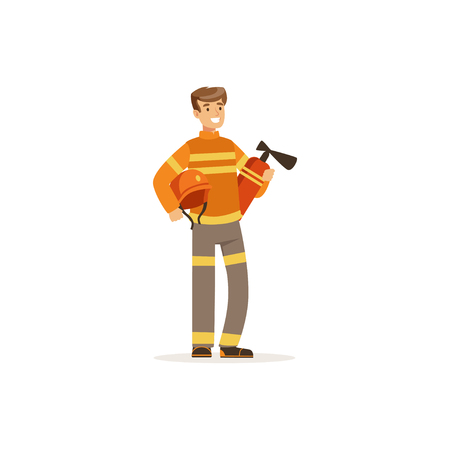 Fireman character in uniform holding extinguisher, firefighter at work vector illustration Illustration