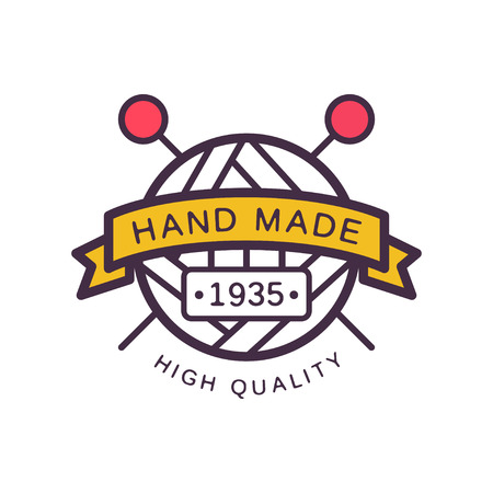 Handmade logo template, high quality since 1935, retro needlework craft badge, knitting and crochet element vector illustration