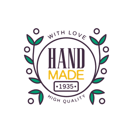Handmade with love logo template, high quality since 1935, retro needlework craft badge, handicraft element vector illustration