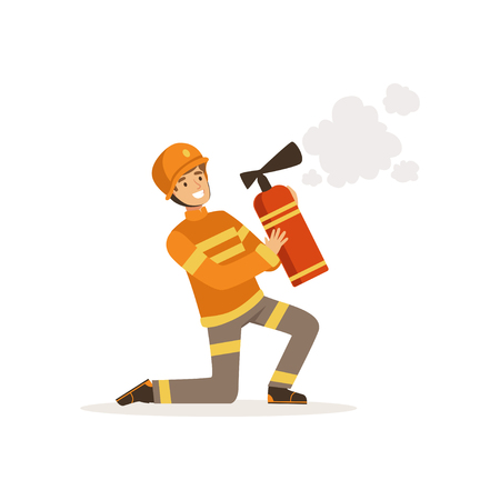 Fireman character in uniform and protective helmet kneeling spraying foam from a fire extinguisher, firefighter at work vector illustration