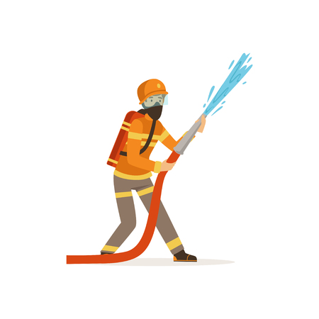 Brandweermankarakter in eenvormige en beschermende de slang dovende brand van de maskerholding met water, brandweerman op het werk vectorillustratie Stockfoto - 86639388