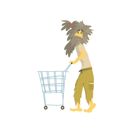 Dirty homeless man character pushing empty shopping cart, unemployment male beggar needing help vector illustration Иллюстрация