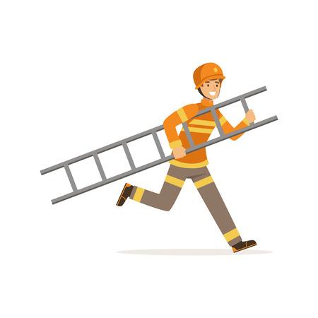 Brandweermankarakter in eenvormige en beschermende helm die met ladder, brandweerman op het werk vectorillustratie lopen