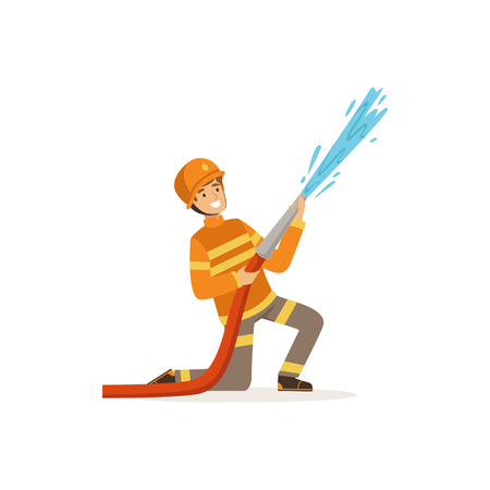 Fireman character in uniform and protective helmet spraying water using hose, firefighter at work vector illustration Ilustrace