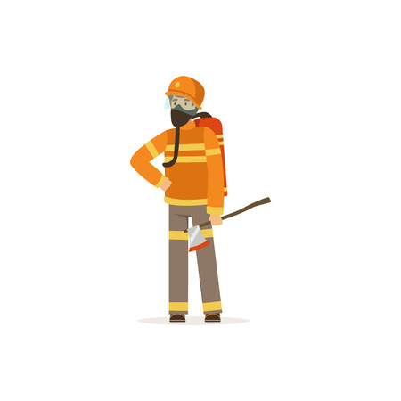 Fireman character in uniform and protective mask holding an axe, firefighter at work vector illustration