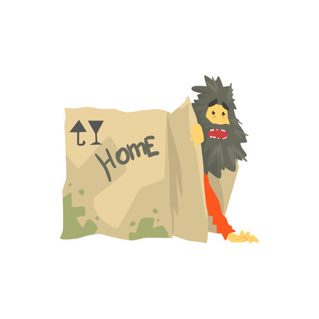 Dirty homeless man character living in in cardboard box with Home inscription, unemployment person needing help vector illustration