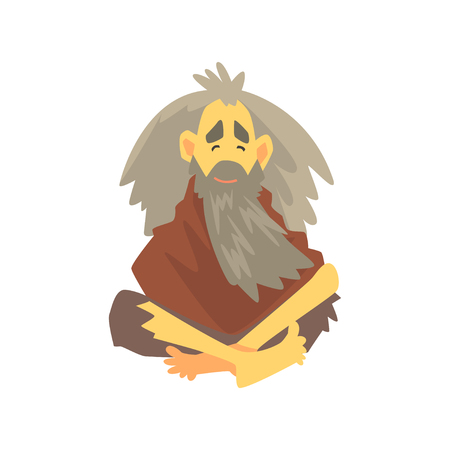 Homeless man character in dirty rags sitting on the street, unemployment person needing help vector illustration