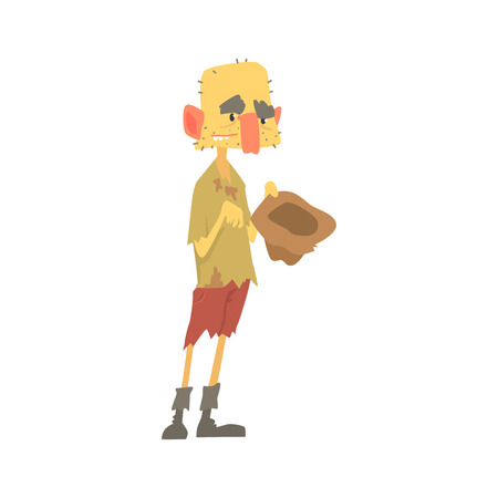 Dirty homeless man character in ragged clothes standing on the street with hat for money, unemployment person needing help vector illustration Illusztráció