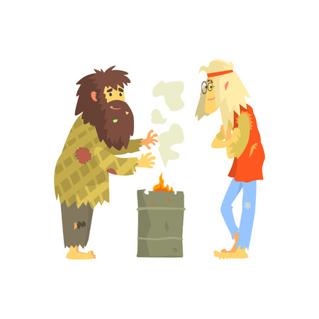 Homeless men warming themselves near the fire, unemployment people needing help vector illustration