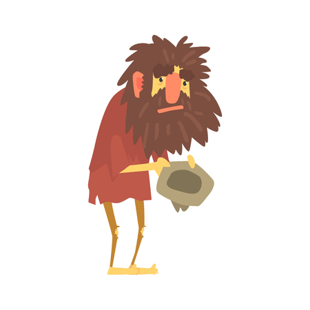 Homeless man character in dirty rags sitting on the street with hat for money, unemployment person needing help vector illustration Illustration