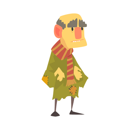 Mature unhappy homeless man character in ragged clothes, unemployment person needing help vector illustration