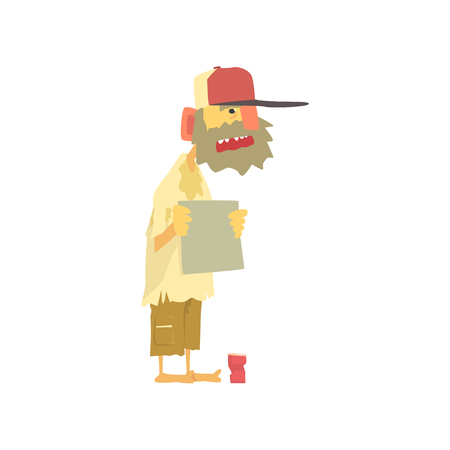 Homeless man character in dirty rags standing on the street with blank signboard asking for help, unemployment man needing help vector illustration Illustration