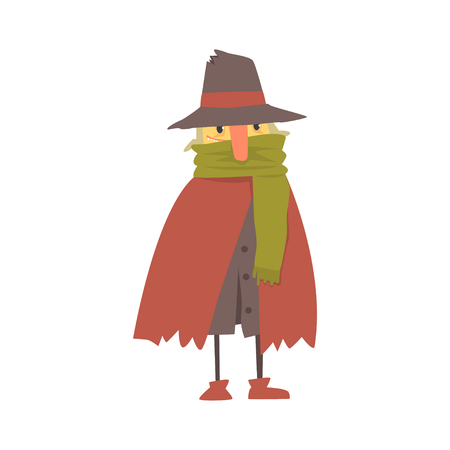 Mature homeless man character in ragged clothes, unemployment person needing help vector illustration