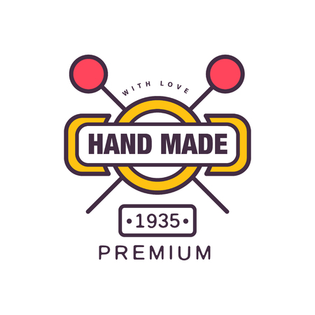 Handmade premium template, since 1935, retro needlework craft badge, handicraft element vector illustration