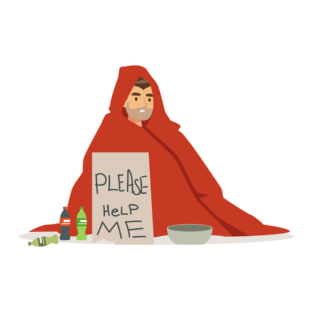 Dirty young homeless man character wrapped in a blanket holding signboard asking for help, unemployment man needing help vector illustration