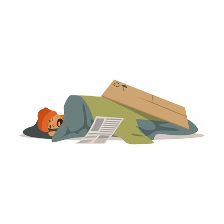 Homeless man character sleeping on the street, unemployment man needing help vector illustration