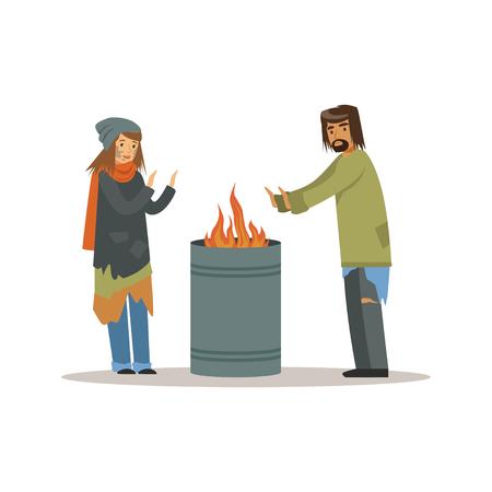 Dakloze mannen en vrouw die verwarmen dichtbij het vuur, werkloosheidsmensen die hulp vectorillustratie nodig hebben