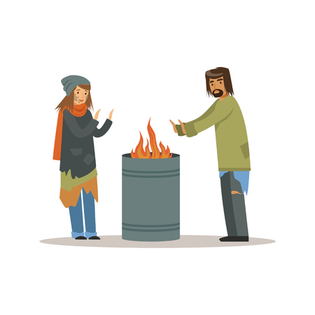 Homeless men and woman warming themselves near the fire, unemployment people needing help vector illustration